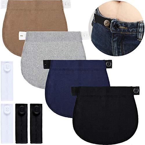 8 Pieces Adjustable Maternity Pants Extender Elastic Waistband Extender Adjustable Pant Button Extenders for Pregnancy Women Men Jeans Favors