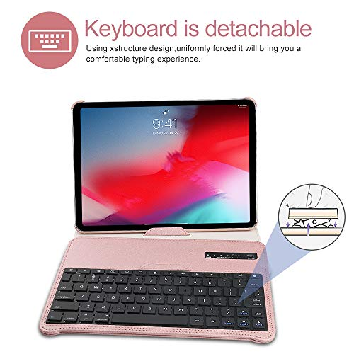 Keyboard Case iPad Pro 11 inch (A1980, A2013, A1934) [Support Apple Pencil Charging], 360 Rotating, Detachable Keyboard, PU Leather Stand, iPad Pro 11 Keyboard Case, (Rose Gold, 11 inch)