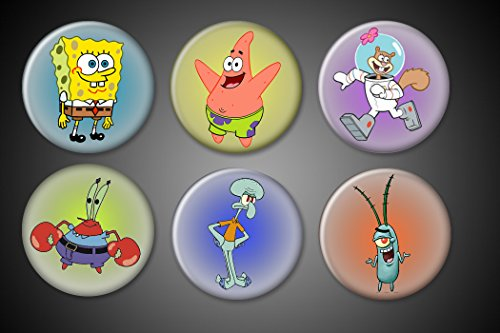 Spongebob Squarepants Pins or Magnets set of 6: Spongebob, Mr. Krabs, Plankton, Squidward Tentacles, Sally Squirrel, Patrick Star 1