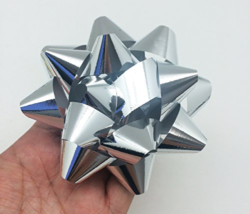 PEPPERLONELY Brand 12PC Peel & Stick Bright Metallic Foil Christmas Confetti Gift Star Bows 4-1/4