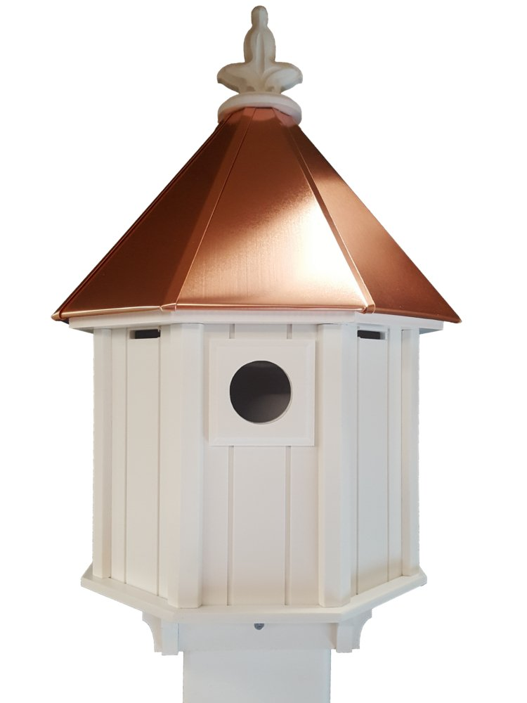 Octagon Bird House Song Bird Cellular PVC Copper Roof Made In the USA by NC Birdguy
