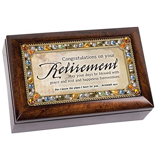 Cottage Garden Retirement Days Blessed Peace Rest Amber Earth Tone Jewelry Music Box Plays Amazing Grace
