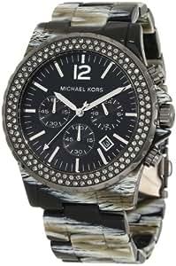 Michael Kors MK5599 - Reloj con correa de caucho para mujer, color negro / gris