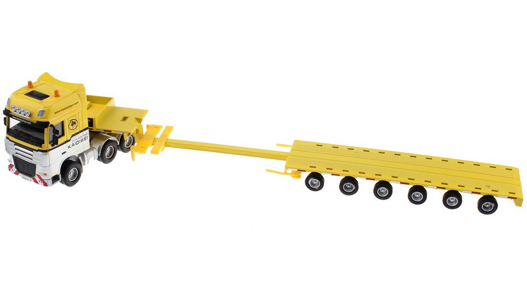 Hugine 1:50 Container Truck Low Bed Transport Vehicle Truck Goods Wagon Lorry Alloy Diecast Model Yellow