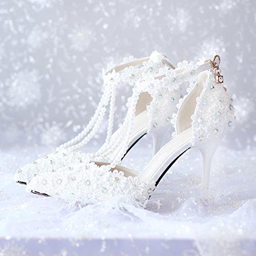 Danza De Novia Zapatos Mujeres Dedo amp; Rhinestones Si La Sandalias Pie Del Aguja Flor Tacón Las Dama Honor Y Alto Puntiagudo 9cm Boda E15qwvxw