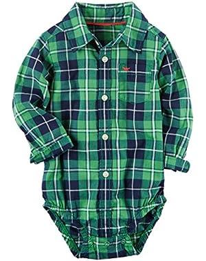 Carter's Baby Boys' Plaid Button-Front Bodysuit (18M, Green)