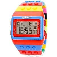 SHHORS Reloj Digital Unisex Ajustable Bloques con Múltiples Funciones Cronómetro, Alarma, Fechador, Día de la Semana, para Niño o Adulto, Extensible Ajustable a Cualquier Talla, Personaliza los Colores. Diferentes y Divertidos Modelos