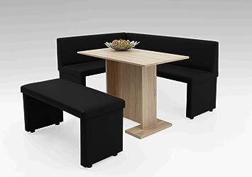 lifestyle4living Eckbank, Sitzbank, Küchenbank, schwarz, Kunstleder, Schenkelmaß Lange Seite: 168 cm, Schenkelmaß Kurze Seite