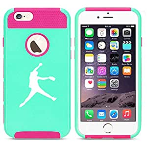 Apple iPhone 6 Plus / 6s Plus Shockproof Impact Hard Case Cover Female Softball Pitcher (Light Blue-Hot Pink)