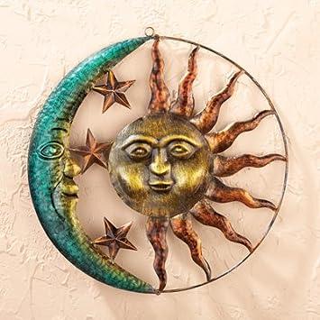 sun and moon 3d metal wall sculpture rustic art decor home accent indoor outdoor decoration