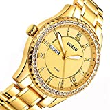 Mens Gold Watches with Diamonds,Business Casual Watches with Gold Dial,Stainless Steel Gold Watch for Men,Roman Numerals with Date and Time,Mens Luxury Army Waterproof Japanese Quartz Wrist Watch