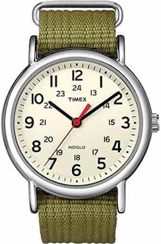 Timex Unisex T2N651 Weekender Olive Nylon Slip-Thru Strap Watch