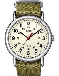 Timex Unisex T2N651 Weekender Olive Nylon Slip-Thru Strap...