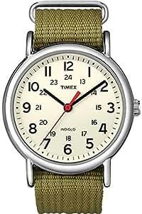 Timex Unisex T2N651KW Weekender Olive Slip Through Strap Watch