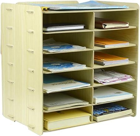 Carpetas Carpeta de escritorio, caja de almacenamiento, acabado, archivo de documentos contables, bastidor de almacenamiento de varias capas (33,3 cm * 24 cm * 35 cm) caja de archivo (Color : D) : Amazon.es: Hogar
