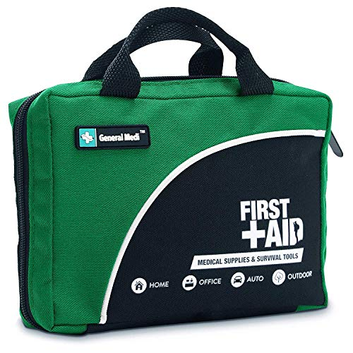 General Medi 160 Piece Compact First Aid Kit Bag - Including Cold (Ice) Pack, Emergency Blanket,CPR Mask,Moleskin Pad,Perfect for Travel, Home, Office, Car, Camping, Workplace (Green)