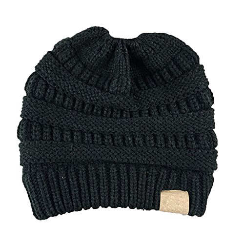 Chunky estaciones Beanie Cable Unisex suave Slouchy sombrero Cálido con Messy mujer las para tapa Grande Bun Knit negro HMILYDYK todas tUzq8n