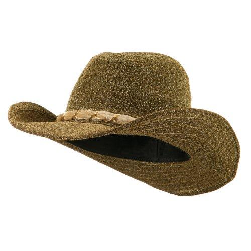 Velvet Cowboy Hat (Glitter Cowboy Hat with Velvet Chain - Gold OSFM)