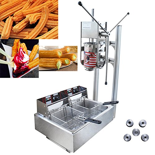 3L Commercial Vertical Manual Spanish Churros Machine with 12L Deep Fryer Authentic Mexican Churros by TECHTONGDA