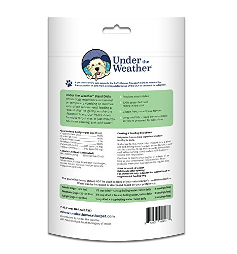 Picture of Under the Weather Easy to Digest Bland Dog Food Diet for Sick Dogs - Contains Electrolytes - Gluten Free, All Natural, Freeze Dried 100% Human Grade Meats (Rice, Hamburger, and Sweet Potato)