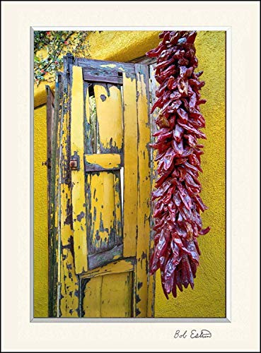 16 x 20 inch mat including photograph of Yellow wooden window shutters with dried red peppers hanging on Southwest yellow adobe wall in the old Barrio historic section of Tucson, AZ