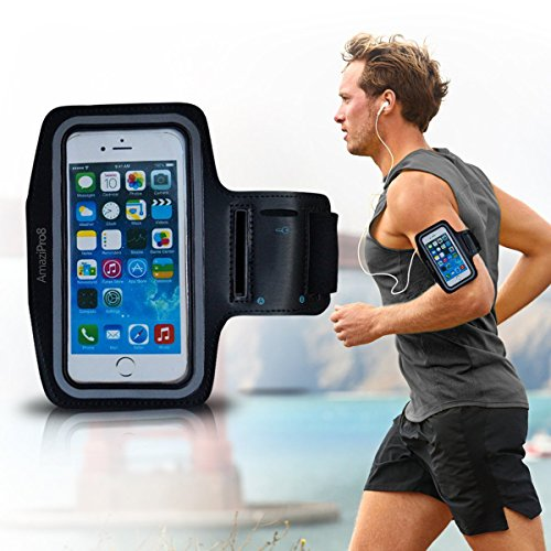 AmaziPro8 Sports Armband + FREE Key Holder - Sporty Armband For iPhone 6 Plus + FREE 5 Downloadable Health Books - Also Compatible for Samsung Note 3 & Note 4