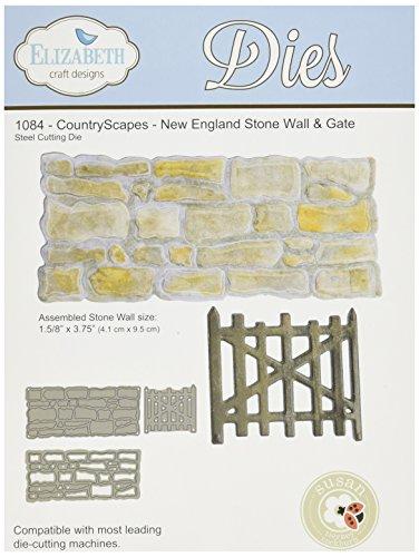 Elizabeth Craft Designs 1084 Metal Die, Country Scape New England Stonewall/Gate, Grey