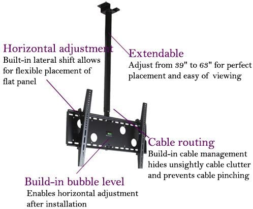 VideoSecu TV Ceiling Mount Bracket for Most 37 to 75 LCD Plasma Flat Panel,Some up to 75 LED TV with VESA 400X400 600×400 684×400 700x400mm, Ceiling Pole Extends from 39 to 63 MPC51B M10