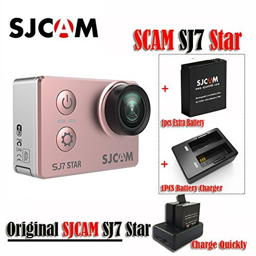 16GB TF Card+Original SJCAM SJ7 Star WiFi 4K 30FPS 2' Touch Screen Remote Action Helmet Sports DV Camera Waterproof Ambarella A12S75 Chipset+1pcs Extra Battery +1pcs Double Charger (Rose Gold)