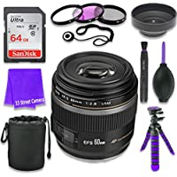 Canon EF-S 60mm f/2.8 Macro USM Lens for Canon DSLR Cameras & SanDisk 64GB Class 10 Memory Card + Complete Accessory Kit (11 Items)