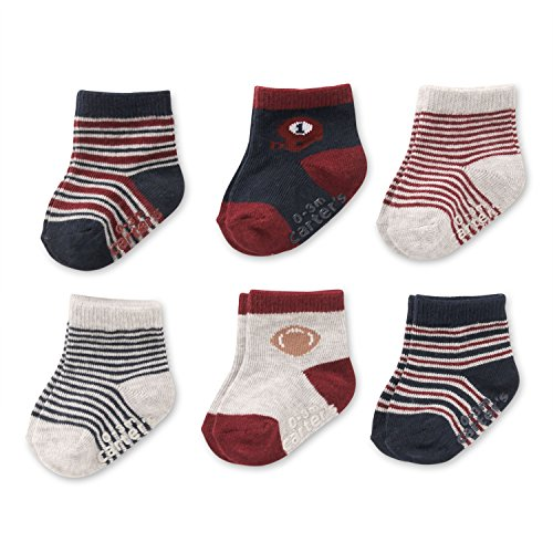 Baby Boys Socks 6 Pack with Non-Slip Grippers, 12-24 Months