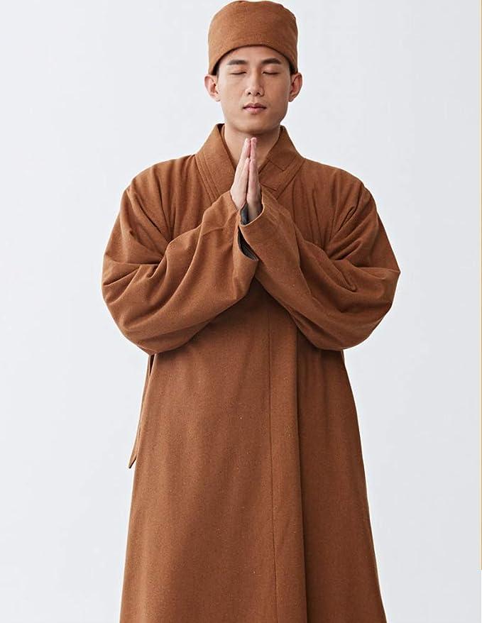 ZanYing Mens Medieval Monk Wool Lay Buddhist Meditation Winter Robe