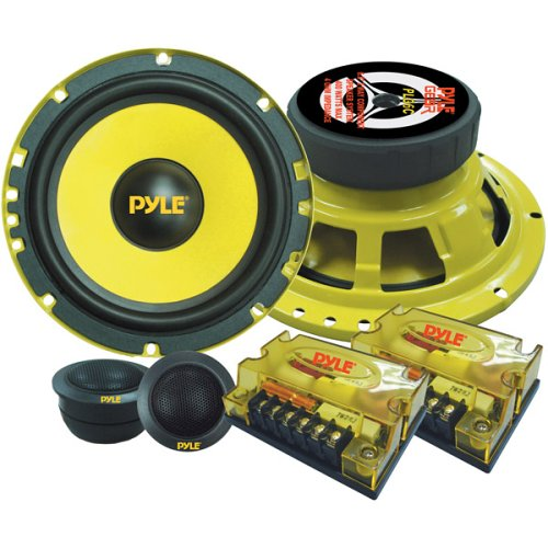 "Poly Injection Cone Speaker - 2-Way Custom Component Speaker System - 6.5"" 400 Watt Component with Electroplated Steel Basket, Butyl Rubber Surround & 40 Oz Magnet Structure - Wire Installation Hardware Set Included - Pyle PLG6C"