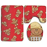 Gingerbread Christmas Accessories Bathroom Rugs Set Easily Fold Bathroom Rugs And Mats Washable Lid Toilet Cover And Bath Mat