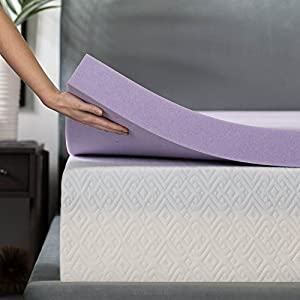 LUCID 3 Inch Lavender Infused Memory Foam Mattress Topper - Ventilated Design - Full Size