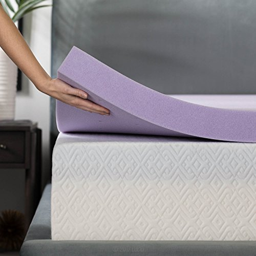 LUCID 3 Inch Lavender Infused Memory Foam Mattress Topper - Ventilated Design - King Size