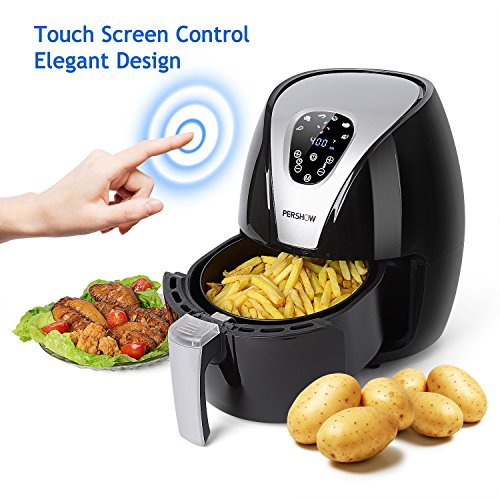 Air Fryer, PERSHOW 2.6QT Touch Screen Control,Dishwasher Safe,6 Cook Prests, Comes with Recipes & CookBook,Nutritious Food with No Oil