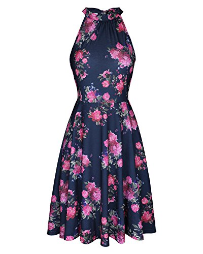 (OUGES Women's Halter Neck Floral Summer Casual Sundress(Floral-05,XL))