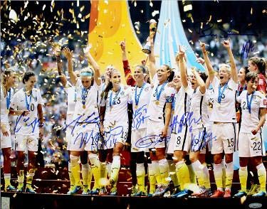 Signed Kelley - 2015 World Cup Champions Team Signed 16x20 photo (9-sigs) Julie Johnston, Kelley O'Hara, Christine Rampone- Hologram - Tristar Productions Certified