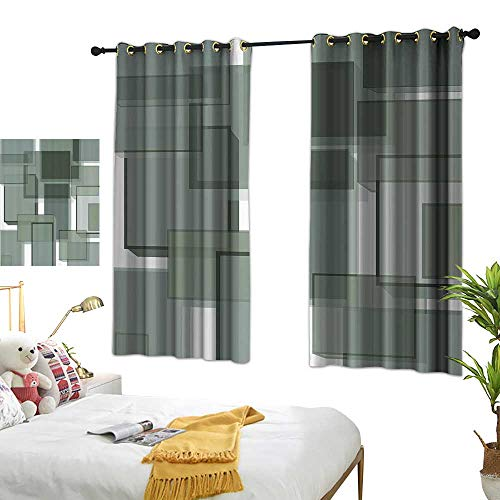 Warm Family Sliding Curtains Taupe Three Dimensional Cubes Geometric Modern Abstraction Square Shapes Print Privacy Protection 63