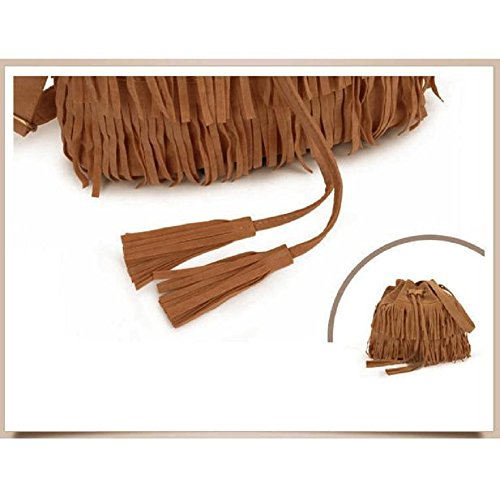 Rcool Fashion Messenger Women Bag Shoulder Body Bags Handbag Tassel Drawstring Cross Solid Bag Brown Casual Purse Women Bag Girls tEpqXpw