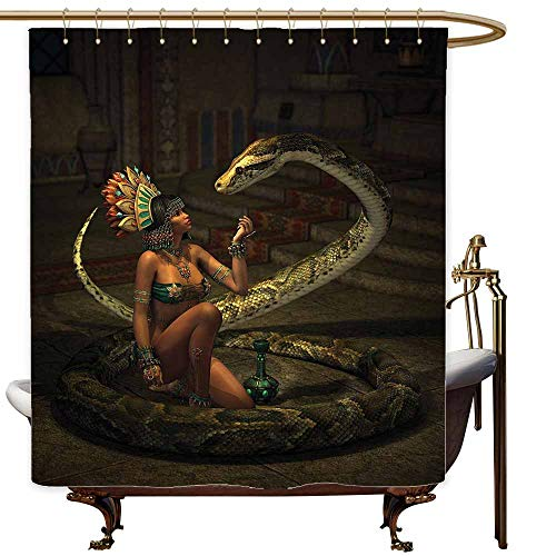 SKDSArts Shower Curtains Blue and Brown Fantasy,Mystery Dark Skin Girl with Headdress Eye to Eye with Huge Snake,Green Brown Emerald Cinnamon,W65 x L72,Shower Curtain for Girls -
