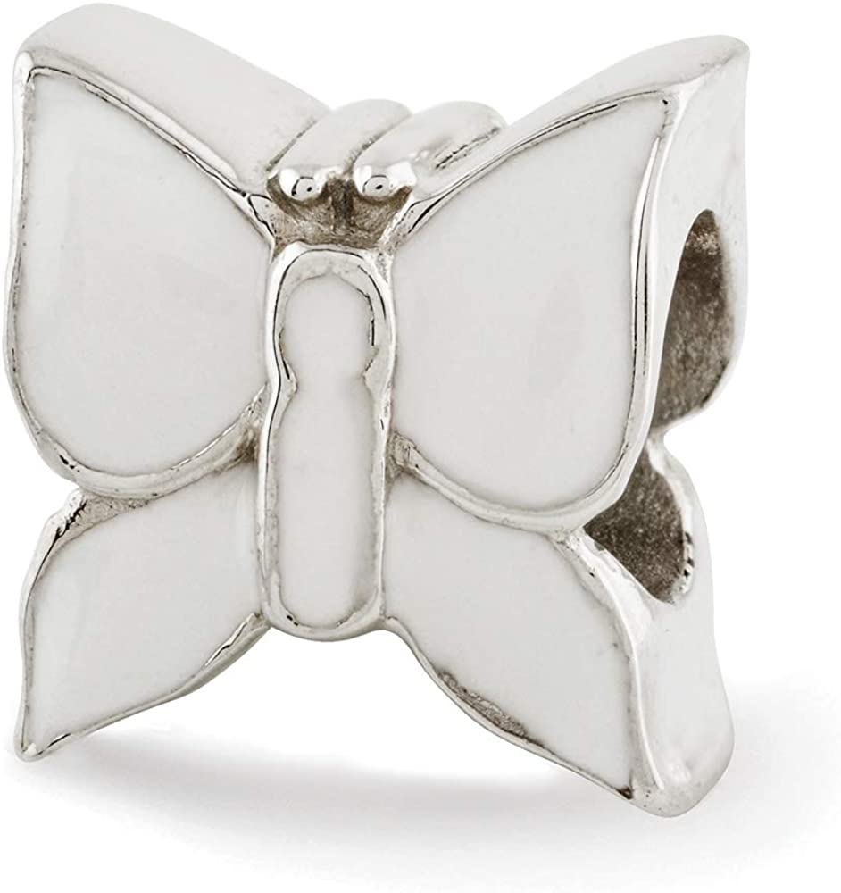Sterling Silver Reflection White Enameled Butterfly Solid Bead