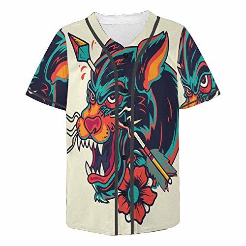 - INTERESTPRINT Men's Button Down Baseball Jersey Short Sleeve Shirt Old School Panther M
