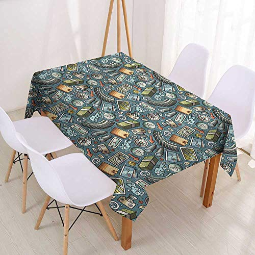 Wendell Joshua Spring & Summer Outdoor Tablecloth Explore,Cartoon Traveling Pattern with Coins Credit Cards Compass and Roads Doodle Design,Multicolor,Great for Buffet Table,Parties& More -