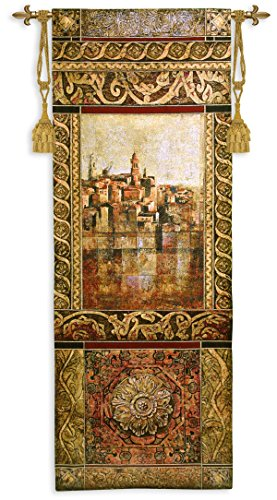 New Enchantment I by John Douglas - Woven Tapestry Wall Art Hanging for Home Living Room & Office Decor - Mediterranean Seascape Villa - 100% Cotton - USA 69X25