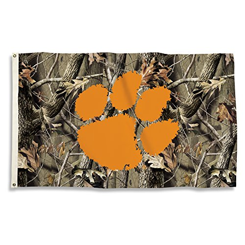 NCAA Clemson Tigers 3' x 5' Flag with Grommets with Realtree Camo Background, Camo