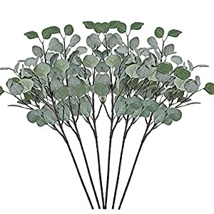 Cyanbamboo 6pcs Artificial Leaves, Long Branches Plants Fake Dollar Eucalyptus Leaf Spray for Home Party Wedding Office Shop Decor 25 Inch 1