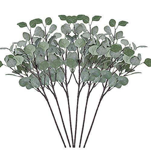 Cyanbamboo Artificial Eucalyptus Leaves, 6 Pcs Long Leaf Branches Plants Fake Dollar Eucalyptus Leaf Spray for Home Party Wedding Office Shop Decor 25 Inch (Green)