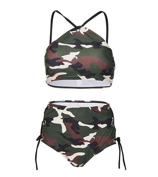 Amazon.com: Camouflage Halter - Bañador para mujer, cuello ...